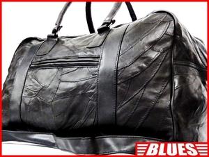 即決★N.B.★オールレザーボストンバッグ メンズ 黒 ブラック 本革 トラベル 本皮 かばん 出張 カバン 旅行 ショルダー 鞄 パッチワーク