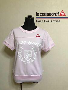 【美品】 le coq sportif golf collection ルコック ゴルフ コレクション レディース ウェア 半袖 サイズL デサント ピンク QGL5537
