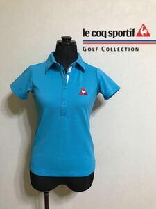 【美品】 le coq sportif GOLF COLLECTION ルコック ゴルフ レディース ウェア ドライ ポロシャツ トップス サイズXS 半袖 水色 QGL1711