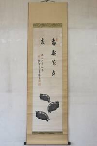 【文明館】鶴翁筆 「亀」 肉筆 紙本 掛軸 日本画 こ16