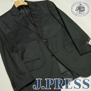 JP50 新品! J.PRESS Jプレス エキストラファインメリノウール ストライプジャケット 背抜き仕立て グレー 36 A5 訳あり