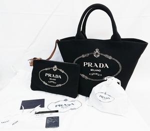 【超美品】 PRADA カナパ ファブリック ハンドバッグ ショルダー 黒1BG186 プラダ AM-0614★350