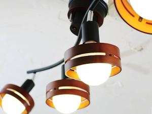 4灯シーリングライト スポットシーリング 照明 リモコン付き (ブラウン/ブラック) ウッドランプ カフェ リビング ダイニング