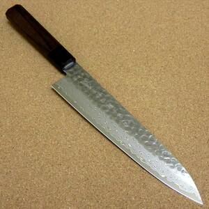 関の刃物 牛刀 21cm (210mm) 富士觀 鎚目鍛造 ダマスカス 45層 10A ステンレス 職人用の洋包丁 肉 魚 野菜 パン切り 両刃万能包丁 日本製