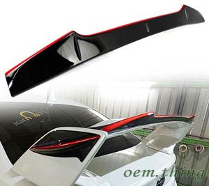 STIウィングスポイラー用トップスポイラー 光沢黒+レッドライン仕様 スバル WRX VA系 VAG VAB 2015-2019 STI 艶有黒