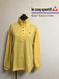 【美品】 le coq sportif golf collection ルコック ゴルフ プルオーバー トップス ウェア レディース サイズL 長袖 黄 QGL1136 デサント
