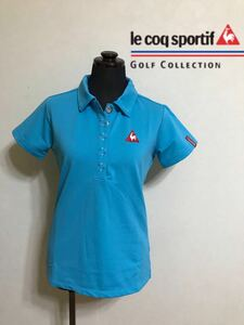 le coq sportif golfルコック レディース ゴルフ ウェア ドライポロシャツ サイズS 半袖 ライトブルー デサントQGL1707