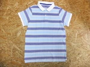 LANDS' END ランズエンド レディース 綿コットン100% マルチボーダー 鹿の子 半袖ポロシャツ 紺×青 サイズXL