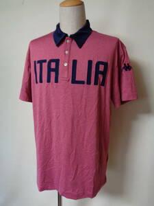 Kappa カッパ 半袖 ポロシャツ イタリア メンズ ゴルフ 3L フェニックス ストレッチ 赤系霜降