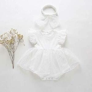 ベビードレス フリルドレス 可愛い チュチュ 半袖 ロンパース (ドレス・ヘアバンド付き)(90cm)