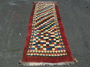 ギャッベ ペルシャ絨毯 アンティーク ラグ カーペット 骨董 イラン産 手織り 05