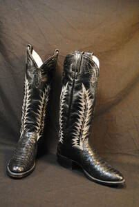 程度極上 特注品 カスタムウエスタンブーツ 黒ヘビ革/黒 蛇革筒飾り ロングウエスタンブーツ 6.5B