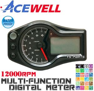 【学習機能ギアインジケーター】ACEWELL完全防水マルチメーター[12000rpm]ZXR400R/ZRX400/ZRX1100/ZRX1200/ニンジャ250R/ニンジャ400R等に