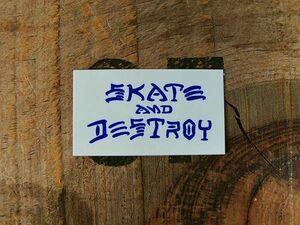 NEW ■ THRASHER SkateAndDestroy ミニステッカー ブルー/AN910 スケート スケボー