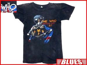 即決★米国製 THE WHO★メンズS位 ビンテージ古着 ツアーTシャツ ザフー 黒 ブラック 半袖 80s 1982年 バンドTシャツ パンクロック バンT