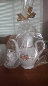 ☆コーヒーポット・ミルクポット・シュガー皿・トング・4点セット☆
