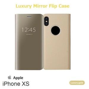 iPhone XS ケース 手帳型 ミラーフリップ ゴールド 鏡面 アイフォンxs アイフォン xs DoCoMo au softbank SIMフリー ジャンク 256gb 12