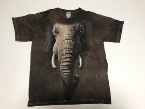 即決 アニマルプリント 像 顔面 Tシャツ タイダイ柄 XL アメリカ古着 USA