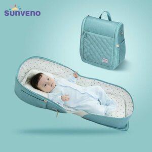 2810b 新品 持ち運び便利 折り畳みベビーベッド 新生児 赤ちゃん 旅行用 移動用 ポータブル 多機能ポケット付き 軽量 コンパクト Blue