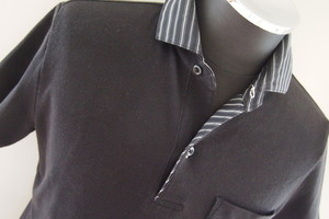 ニコルセレクション★半袖ポロシャツ★半袖シャツ★切替し★ストライプ★サイズ46★NICOLE SELECTION