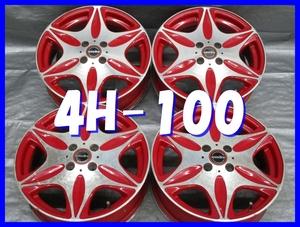 ◆送料無料A2◆ レッド/ポリッシュ 系 speedline 16×5.5J+45 4H PCD100 ハブ径φ67 4本 ※6本 スポーク/ディッシュ タイプ