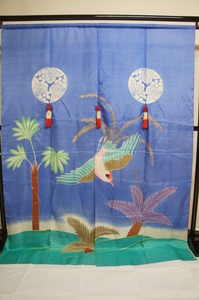 アンテイーク正絹菫色地三つ割菊飾り房付加賀のれんE11473