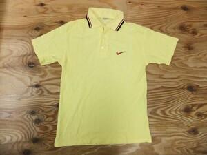 NIKE ナイキ メンズ スウッシュロゴ 刺繍 鹿の子 半袖ポロシャツ 黄 サイズS