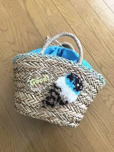 美品 カゴバッグ アイス刺繍 かごバッグ 編み込み トートバッグ ナチュラル ブラウン ブルー カバン 鞄 バック 巾着型 アベイル しまむら