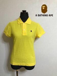 【美品】 A BATHING APE ア ベイシング エイプ レディース 鹿の子 ポロシャツ トップス イエロー サイズXXS 半袖 日本製