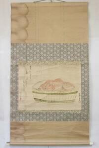 【文明館】「鯛図」 肉筆 紙本 掛軸 日本画 こ62