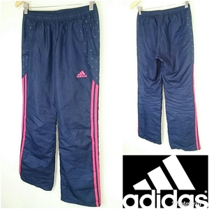 S【adidas/アディダス】LADIES/レディース 女性用 ボトム パンツ ジャージ ロング ネイビー系 スポーツ マラソン ランニング ジョギング