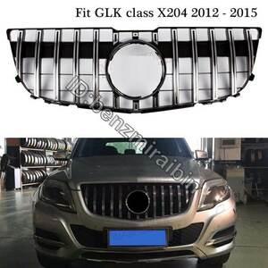 メルセデス GLK X204 2012 - 2015 SUV GLK250 GLK300 GLK350 ブラック シルバー グリル X204 GT GTR スタイル フロント バンパー ベンツ