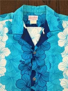 ビンテージ ハイビスカス ボーダー柄 コットン アロハシャツ S ブルー グラデーション 検索 60s 70s ヒッピー ハワイアン 銭ボタン