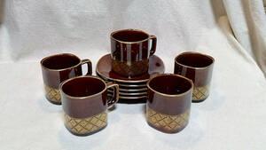 【九谷焼/コーヒーカップ】『良品』 喫茶風 コーヒーカップ ソーサー 5客 ブラウン 焦茶色 / 九谷泉八 焼物