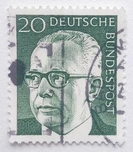西ドイツ 切手 1970年発行 第3代連邦大統領 グスタフ・ハイネマン 郵便 郵趣 ヨーロッパ 西洋 西欧 欧州 国家元首 West Germany 歴史 政治