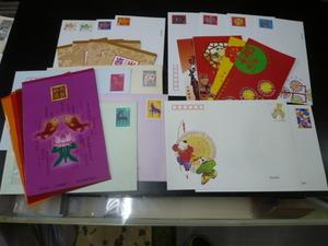 新中国切手 年賀くじ付き 2000年-02年 封筒 各完揃い 未使用 14種