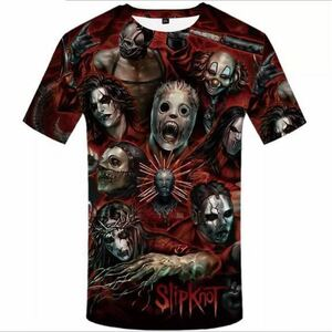 SLIPKNOT バンドTシャツ バンT スリップノット 半袖Tシャツ Tee 総柄
