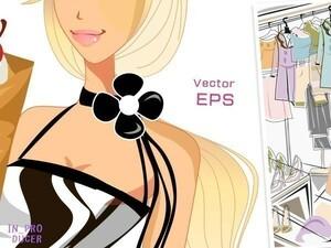 1060点■美麗で個性的な女性モデル・イラスト素材集《人物モデル・服飾ファッション・街背景デザインetc.》★EPS/SVG/PNG/JPEG★イラレ等に