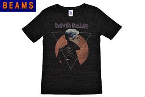S-6997★送料無料★超美品★BEAMS×JUNK FOOD ビームス×ジャンクフード David Bowie デヴィッド・ボウイ★USA ブラック黒 半袖Tシャツ S