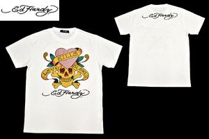 S-7207★送料無料★超美品★Ed Hardy エドハーディー★ホワイト白色 両面プリント ラインストーン 半袖Tシャツ L