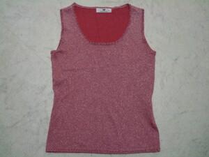 ■美品 VIVAYOU ビバユー ピンク ラメ フチにビーズ付き キラキラ ノースリーブ ブラウス Tシャツ トップス 光沢 2号 38号 9号 Mサイズ