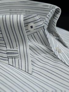 ◇処分/S-37白*紺黒ストライプ/変形ボタンダウン綿100%形態安定半袖ビジネスワイシャツ新品即決