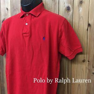 USA直輸入〈Polo by Ralph Lauren〉ポロ ラルフローレン ◆メンズ size S / 赤 ロゴ刺繍 半袖 ポロシャツ 鹿の子シャツ トップス USA古着