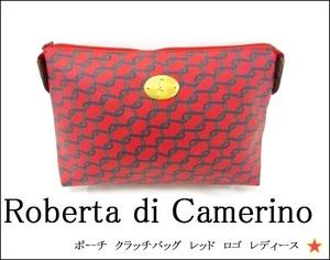 【Roberta di Camerino】 ロベルタディカメリーノ ポーチ マルチケース レッド ゴールド金具 チェーン柄 ヴィンテージ レディース