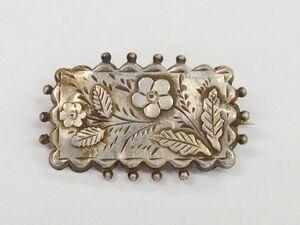 英国製 イギリス アンティーク 1891年代 チェスター スターリングシルバー 銀製 繊細彫刻 花 ピンブローチ ホールマーク 刻印/12233