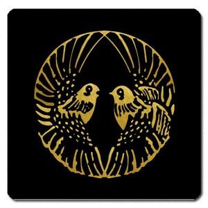 家紋シール 対い鴛鴦の丸紋 10cm x 10cm S10D-009