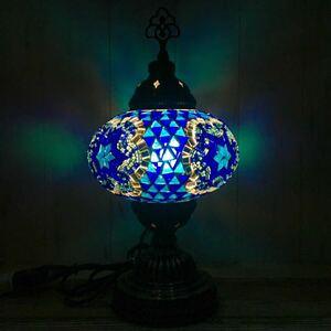 【トルコ】スタンドランプ L ブルー① 新品 トルコランプ テーブルランプ ステンドグラス 照明 アンティーク卓上ランプ スタンドライト