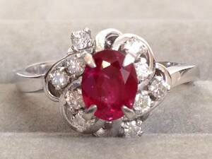 即決 豪華 大粒 Pt900 ルビー 0.80ct ダイヤモンド 10石 0.17ct リング 指輪 9号 重厚感 美品 重厚 綺麗 レディース 立て爪 高級 送料無料