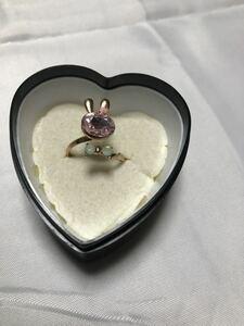 Rabbit Rabbit Round Ring Ring Accessories Rhinestone Free Size Pink