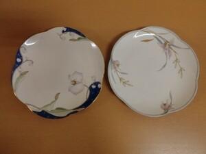 (30939)保谷謹製 ホヤ 和食器 銘々皿 胡蝶蘭 欄 皿 2枚セット USED